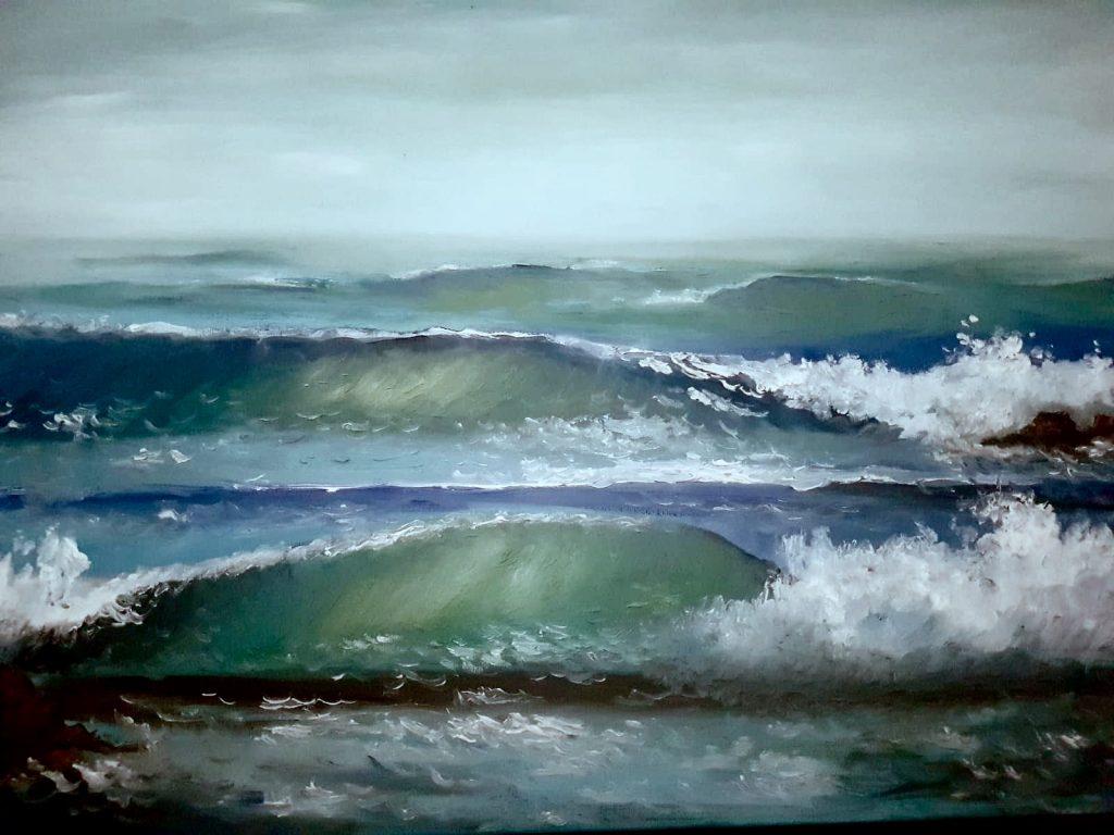 Pintura de David Marcelo de un mar