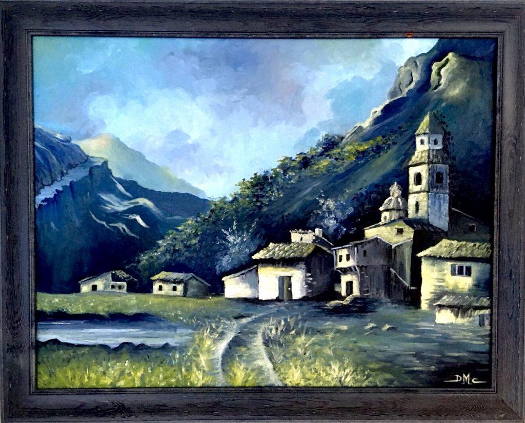 Pintura de David Marcelo de un pueblo azul