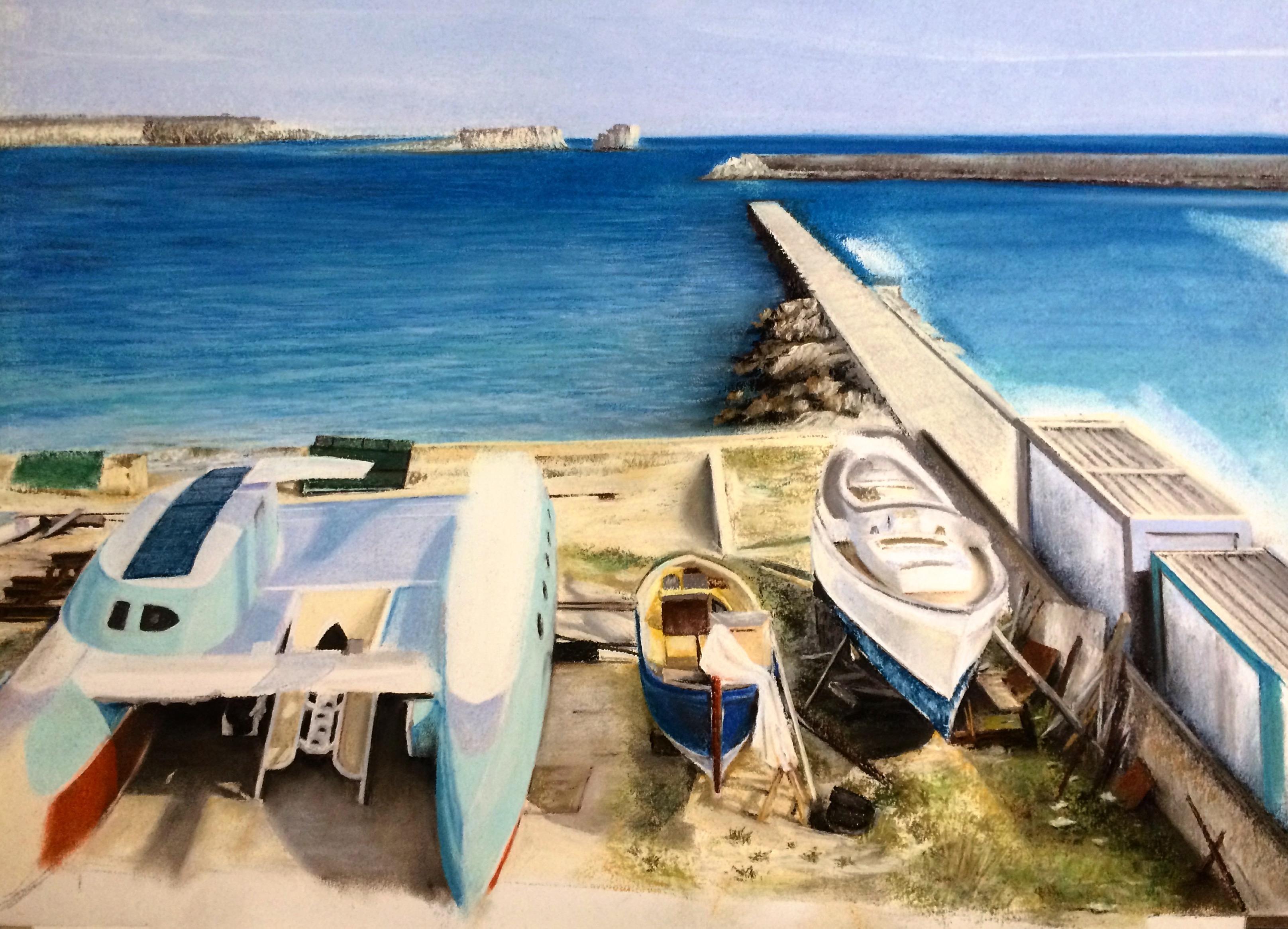 Pintura de David Marcelo de un puerto en verano