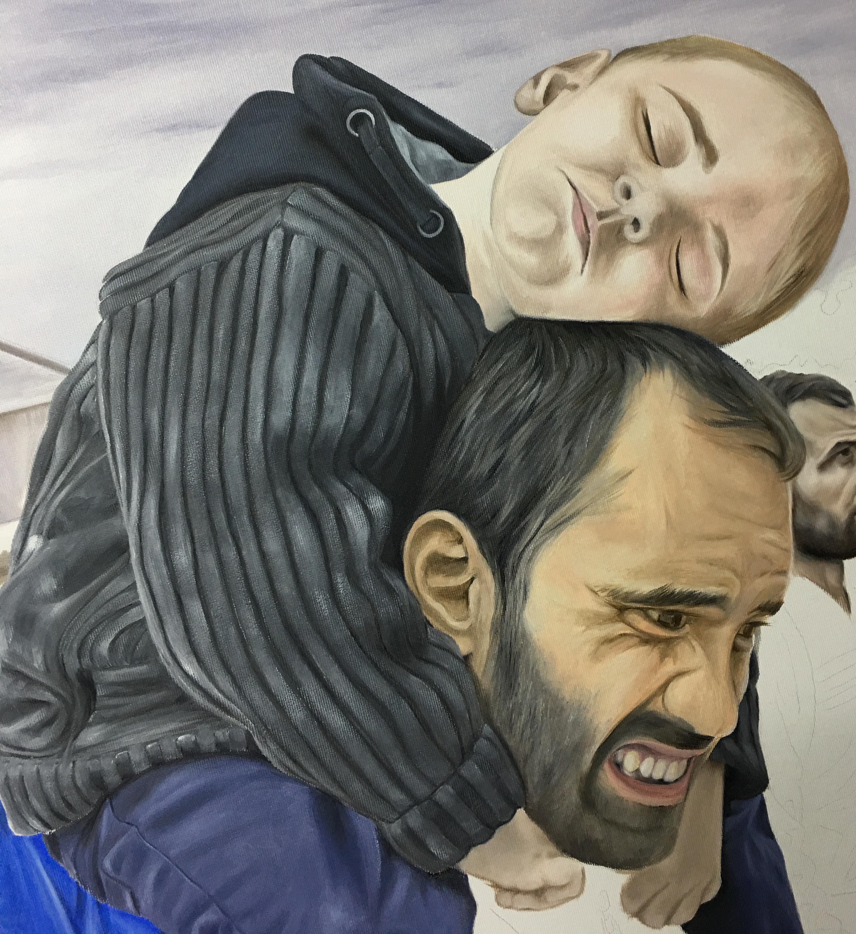 Refugiados. Pintura de David Marcelo de los refugiados de guerra