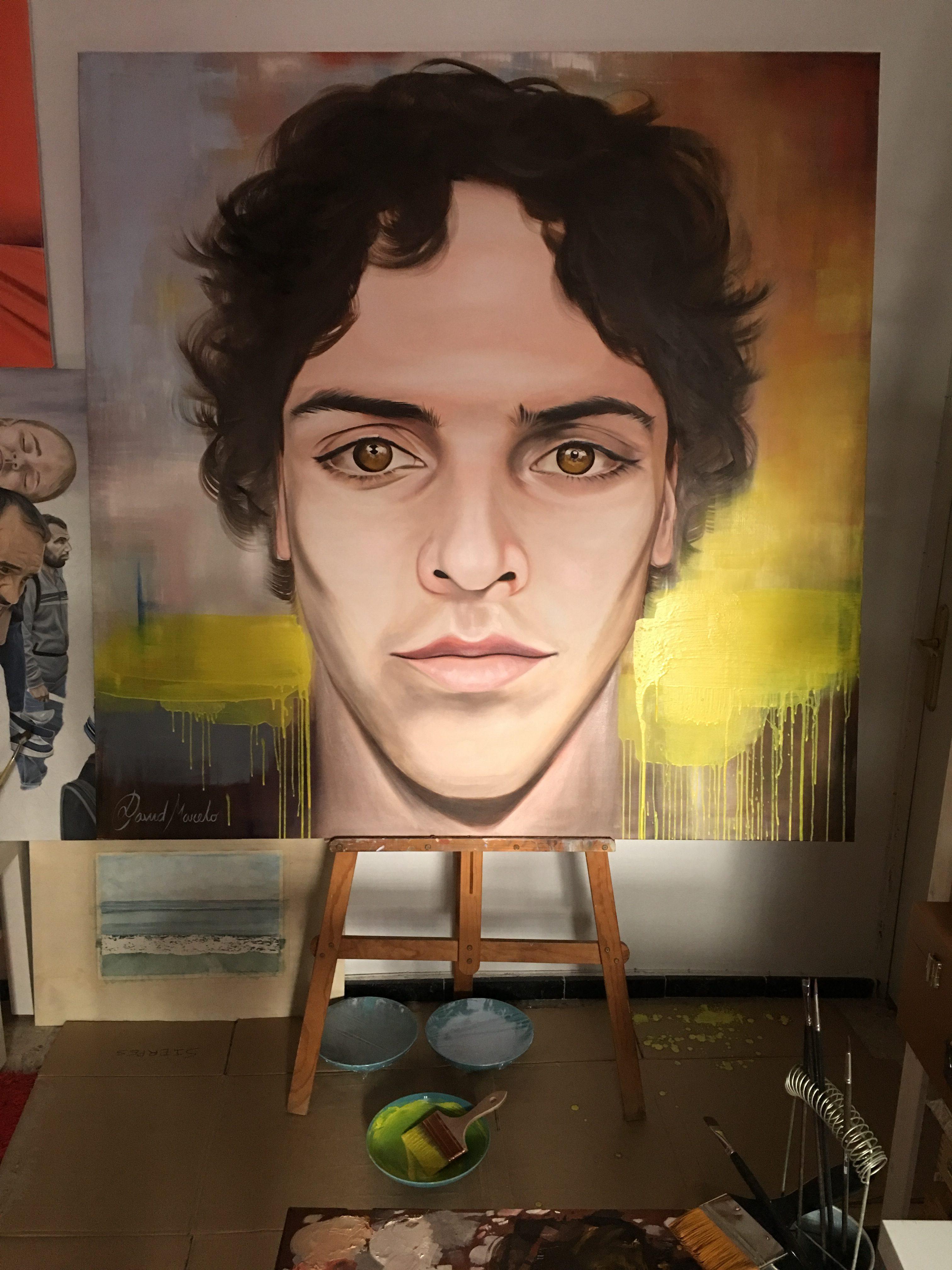 Pintura de Horizonte. Autorretrato de David Marcelo en el estudio