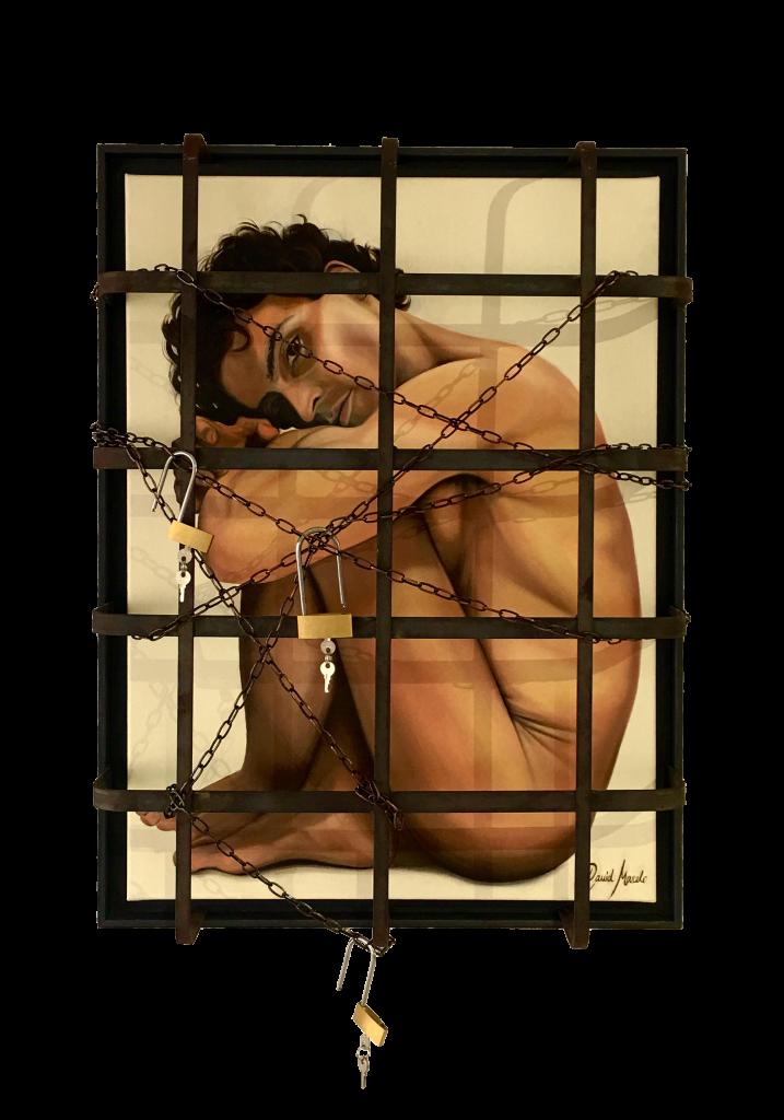 Pintura de La Jaula 2.0. Autorretrato de David Marcelo