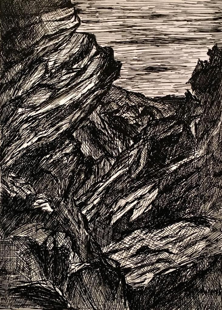 Dibujo a tinta de David Marcelo de Rocas
